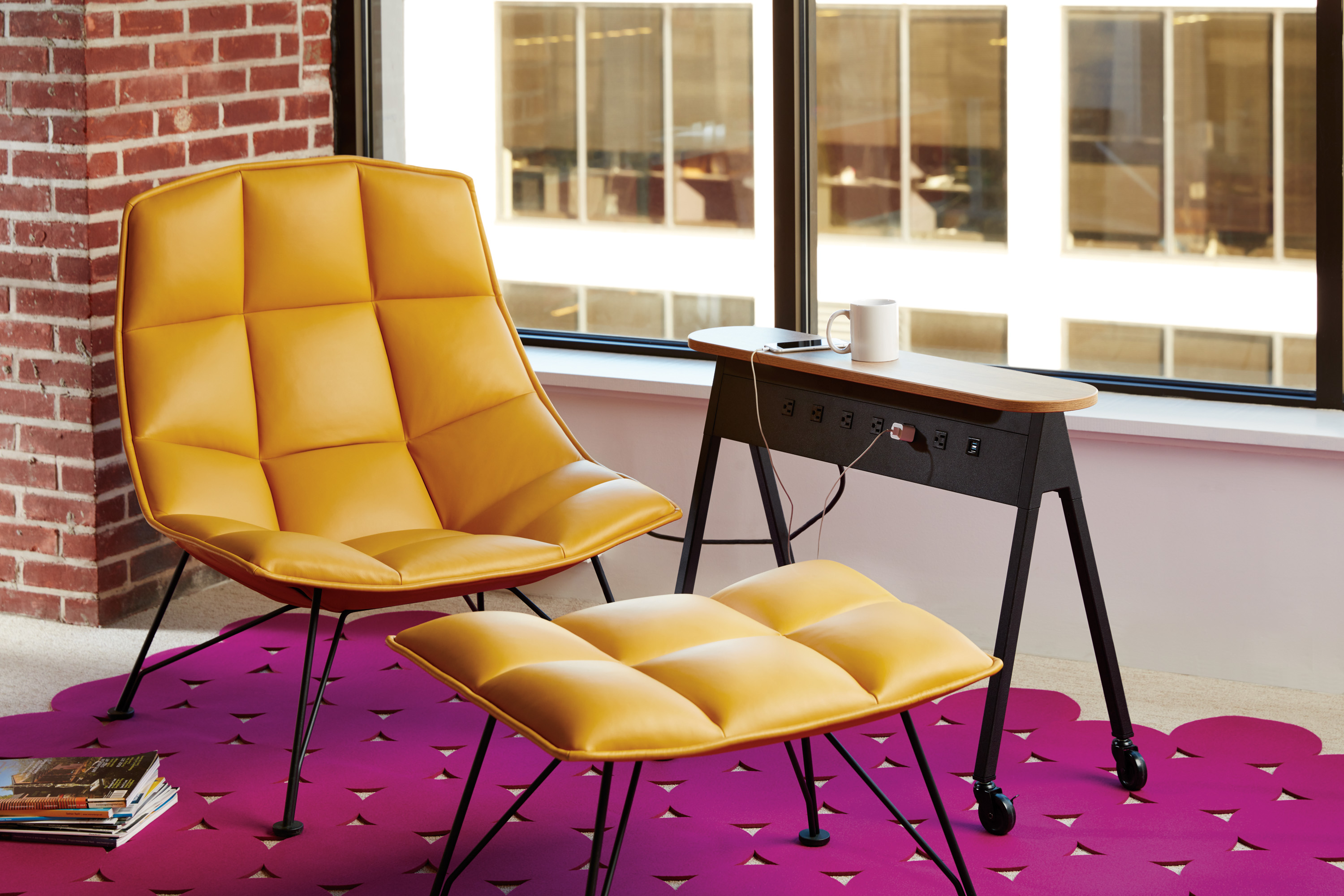 Set of armchairs and rocking chairs just out from beneath the shelter - Jehs Laub Lounge Chair